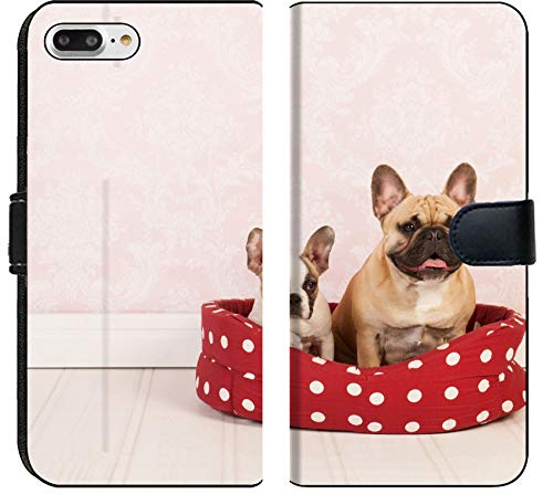Luxlady iPhone 7 Plus Flip Fabric Wallet Case Two French Bulldogs in red Dotted Basket Vintage Room Image ID 27456303