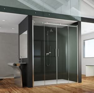 Mampara de ducha Axer acceso de cara (dos paneles fijas y dos paneles coulissants de cara de cristal transparente o gris ahumado de 8 mm: Amazon.es: Bricolaje y herramientas