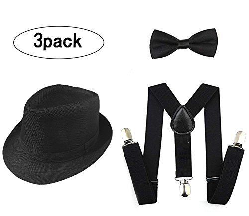1920s Set Fedora Gangster Hat Costume Accessory Y-Back Suspenders & Pre Tied Bow Tie,Men's Roaring 1920s Set Manhattan Fedora Hat bigger kids(Small Size) (black)