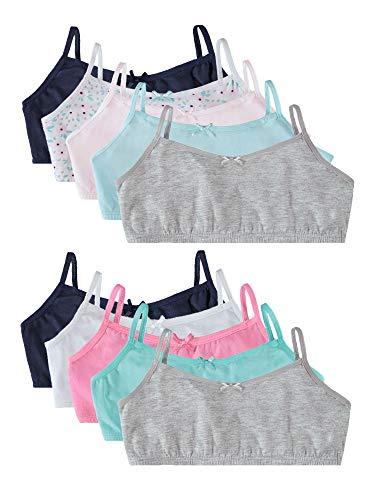 Rene Rofe Girls' Cotton Spandex Training Bra Bralettes with Adjustable Straps (10 Pack)