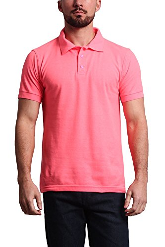 - G-Style USA Men's Solid Color Carded Pique Classic Polo Shirt PL600C - Flourescent Pink - 2X-Large