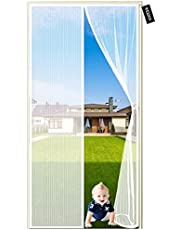 Muggennet Voor Deuren 105 x 215 cm Personaliseerbaar Magnetische Deur Anti Muggengaas Vlieggordijn met Full Frame Haak & Loop Eenvoudig te installeren Glasvezel (Wit)