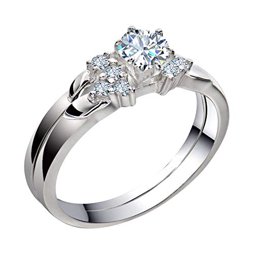 FlameReflection Stainless Steel Womens Wedding Engagement Rings Set Bridal Round White Cz Cubic Zirconia Band Size 5-11 SPJ