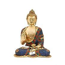 CraftVatika Large Medicine Buddha Statue - Buddhism Brass Blue Tibetan Healing Sculpture - Handmade Idol Home Decor Figurine