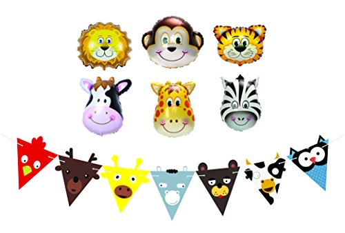 Happy Birthday Balloons, Party Favors and Decorations for Kids Birthday Parties - (Farm Animals Hanging)