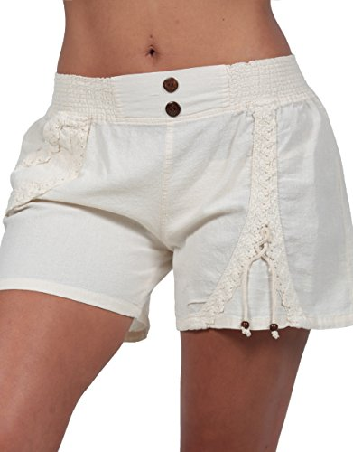 M&B USA Cotton White Women's Summer Shorts Lace Embroidered Sexy Skirt Organic (X-Large, - Inseam By Shorts Height