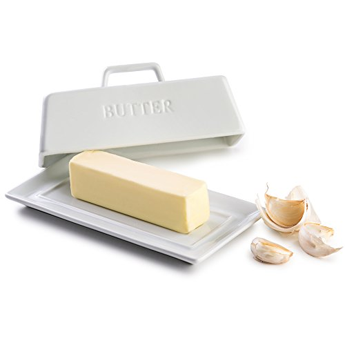 - KooK Ceramic Butter Dish with Handle Cover Design, 7.25 Inch Wide, White