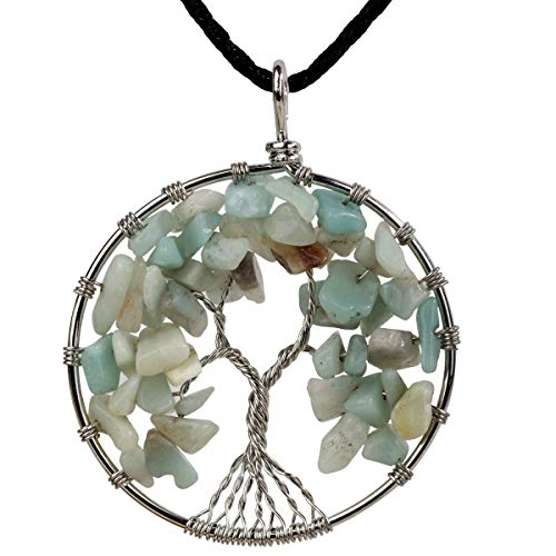 (YACQ Aquamarine Tree of Life Gemstone Pendant Necklace Wire Wrapped Filigree Soft Blue Healing Chakra Spiritual Natural Raw Stone Handcrafted Jewelry for Women 18