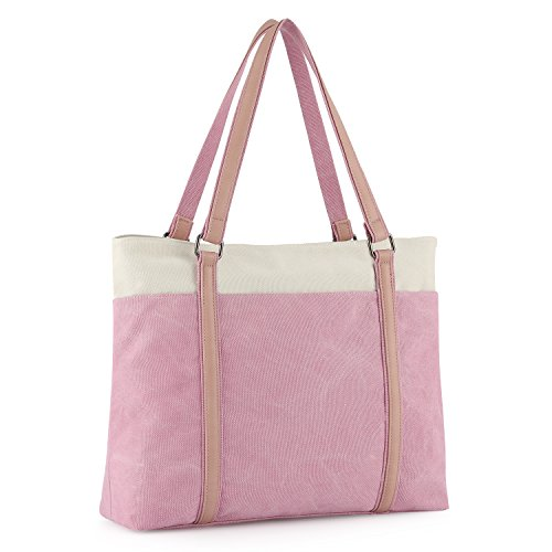"Hand Carry Shopper Tote Bag - Plambag Canvas Laptop Tote Bag 15.6"" Work Shopper Shoulder Handbag for Women (Pink)"