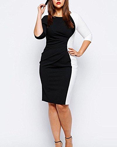 Vestido Elegante Mujer De Talla De Negro Grande Vestido Lápiz Cóctel Corto Noche wfqYqxRC