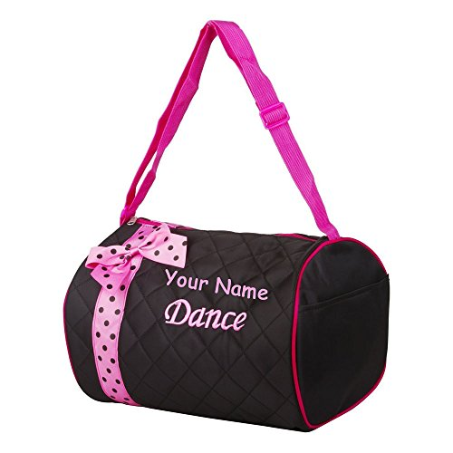 Personalized Quilted Black with Pink Bow and Polk a Dots Dance Duffel Gym Bag