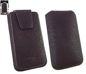 Emartbuy® Archos 50 Titanium Gama Classic Púrpura Lujo Pu Slide Cuero De La Bolsa / Caja / Carcasa / Titular (Tamaño 4Xl ) Con Magnético De La Aleta & Pull Tab Mecanismo Y Protector De Pantalla