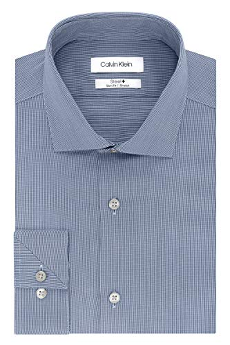 (Calvin Klein Men's Dress Shirt Slim Fit Non Iron Stretch Solid, Smokey Blue, 18