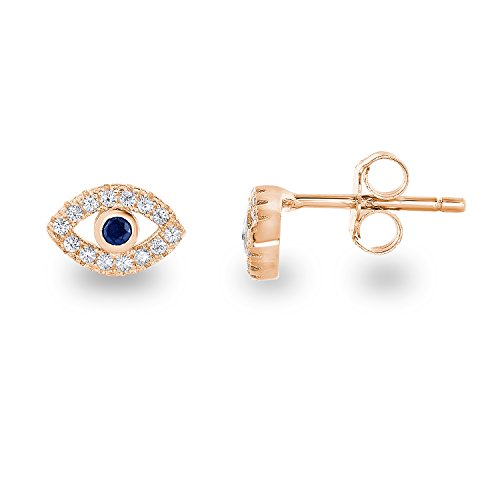 14k Rose Gold Plated 925 Sterling Silver Cubic Zirconia Mini Evil Eye Jewish Symbol Stud Earrings