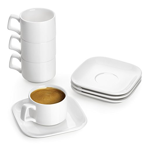 - DOWAN Porcelain Espresso Cups with Saucers, 4 Oz Coffee Cup and Saucer Set, White, Set of 4