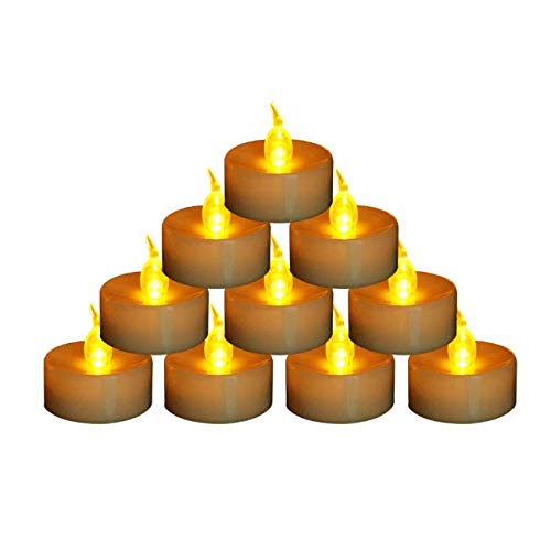 (Houdlee 24 Pack Flameless Tea Lights Flickering Amber Candles,Battery Operated Led Candles Long Lasting Tealights Electric Votive Tea Lights for Wedding Party, Romantic Dinner, Events, Holiday)