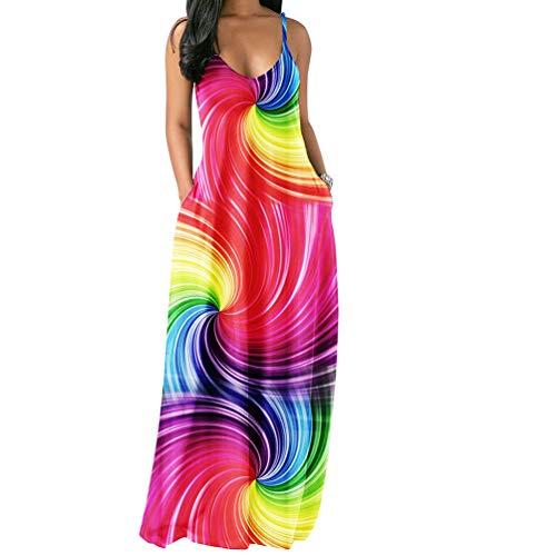 Salimdy Womens Spaghetti Strap Dress Sleeveless - Sexy Tie Dye Print Summer Beach Kaftan Long Maxi Dresses Sundresses Colorful Small