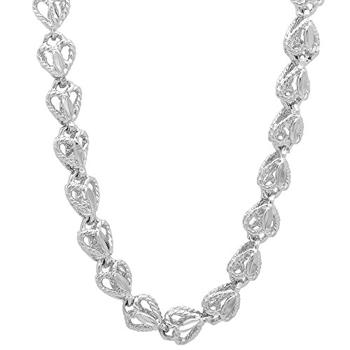 7mm Rhodium Plated Diamond-Cut 3D Roped Heart Shaped Open Link Chain, 36'' + Jewelry Polishing Cloth by The Bling Factory