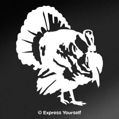 Strutting Tom (White - Image Facing as Shown - Medium) Decal Sticker - Upland Game Bird Collection
