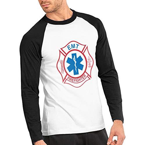 Men's Cotton Long Sleeve Tee EMT Firefighter Maltese Cross