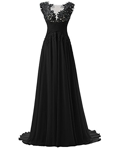 Fanciest Gowns Black Dresses Evening Women's Prom 2016 Chiffon Lace Long r8IwvOzrnq