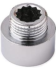 1/2 inch AG naar 3/8 inch IG BSP chroom reductie ronde buisaansluiting, doucheslang mengventiel, verloopstuk, adapter, chroom