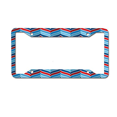 Jackie Prout ss Abstract Pattern Braid Chevron Joyful Curvy Ogee Classical Shape Symmetry Design License Plate Frame Holder Aluminum Car Tag Frame 4 Hole and Screws