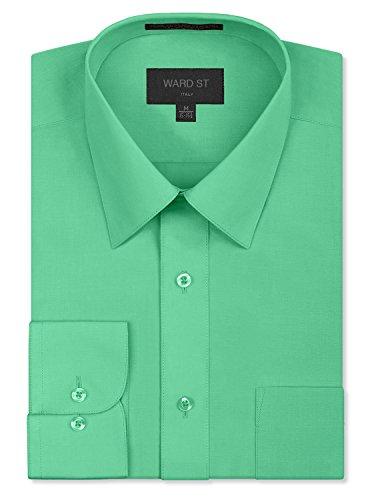 Ward St Men's Regular Fit Dress Shirts, Medium, 15-15.5N 30/31S, Aqua