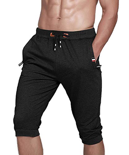 Gopune Men's Cotton Casual Shorts 3/4 Jogger Capri Pants Workout Summer Short with Zipper Pockets