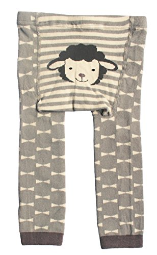 CHUNG Baby Toddler Boys Girls Cotton Footless Ankle Length Tights Soft Stretchy 6M-4Y (6-24M, Lamb/Gray)
