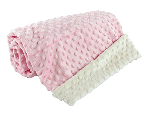 berry bebe -baby blanket for baby girl Ultra soft and cozy MINKY DOT , perfect baby shower gift, pink and ivory for baby girl … (Velour Blanket Baby Pink)
