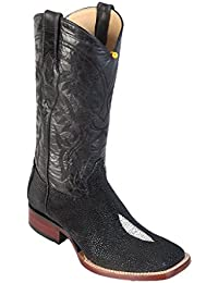 Men's Wide Square Toe Single Stone Black Genuine Leather STINGRAY Skin Western Boots