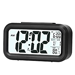 ZLXING LED Backlit Sensor Touch Alarm Clock with Time/Date/Temperature Display Snooze Function Battery Operated (Black)