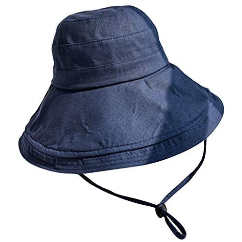 URIBAKE Women's Wide Fishermen Hat Solid Comfortable Elegant Casual Visor Collapsible Cap Navy ()