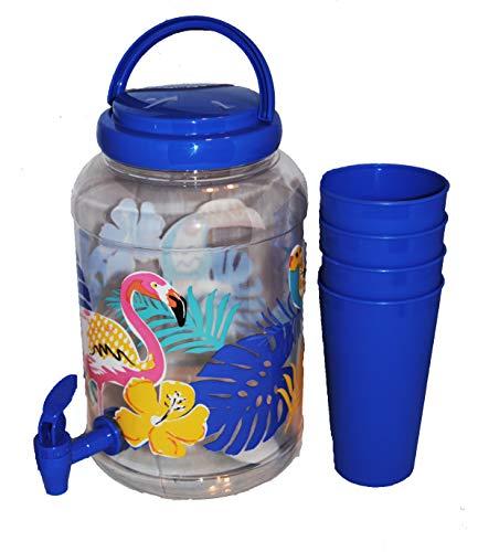 Decorative Summer Drink Dispenser with Spigot 1 gallon and 4 Cups (Blue)