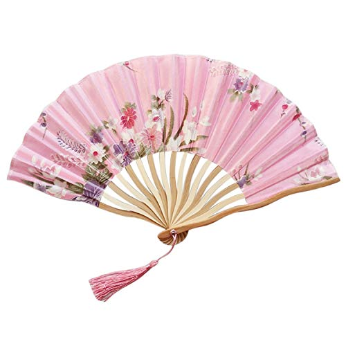 Folding Fan Vintage Chinese Hand Held Fans Silk Bamboo Folding Fans Handheld Folded Fan for Church Wedding Gift Nov#2,E