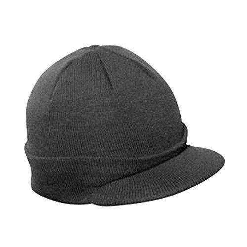 (Vintage Year Plain Short Billed Knit Radar With Cuff Beanie (Charcoal Gray))