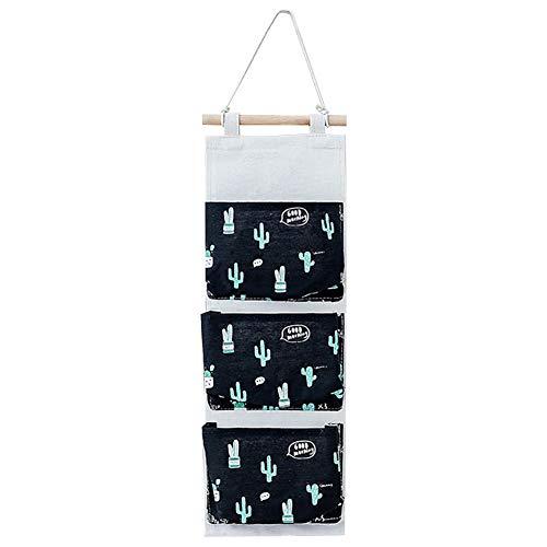 Aoruisier 1pcs Plant Hanging Bag Cactus Series Pattern with Three-pocket Bathroom Kitchen Doors Windows Multi-layer Bag Black 56 x 20cm