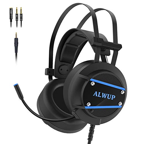ALWUP A9 Xbox One Headset, PS4 Gaming Headset with Mic, PC Game Headphones with Microphone for Gamer Playstation 4 Xbox 1 S X Nintendo Switch Computer Laptop of Stereo Surround Sound, Deep Ear Pads