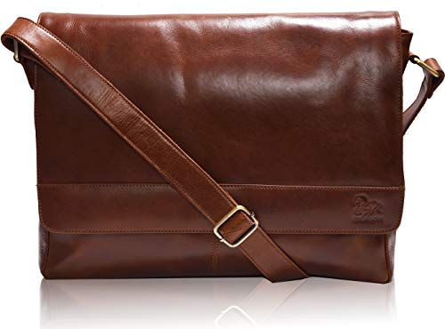(Leather Laptop Messenger Bag for Men - Premium Office Briefcase 14