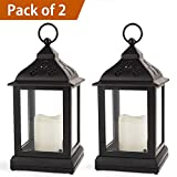 "Bright Zeal Pack of 2 Vintage 9"" Candle Lantern w LED Flickering Flameless Candle (Black, 8hr Timer) - Decorative Lanterns Battery Powered LED - Hanging Lanterns Decorative"