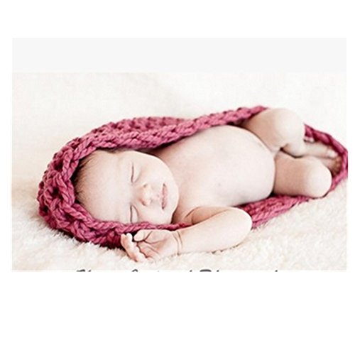 Knitted Photography Prop Handmade Newborn cocoon Swaddle Sack Sleeping bag (rose Red) (Newborn Cocoon)