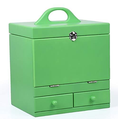化粧箱、グリーンダブルデッカーヴィンテージ木製彫刻が施された化粧ケース、ミラー、高級ウェディングギフト、新築祝いギフト、美容ネイルジュエリー収納ボックス   B07NQDV44K