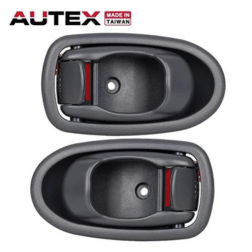 AUTEX 2pcs Gray Interior Door Handles Front Rear Left Right Driver Passenger Side Compatible with Kia Spectra 2001 2002 2003 2004 0K2N1-59330A75 0K2N159330A75 0K2N1-58330A75 0K2N158330A75