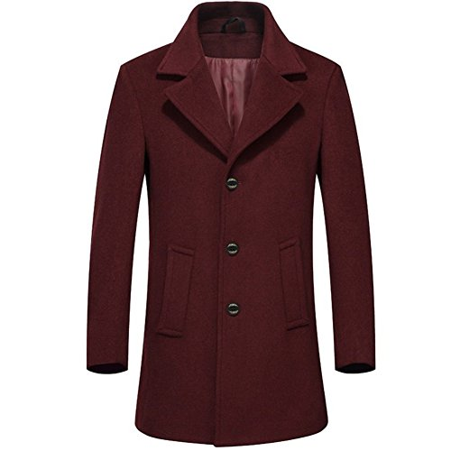 [SYIWONG Mens Wool Blend Pea Coat Stand Collar Windproof Jacket(Red,XL)] (Flapper Girl Makeup Ideas)
