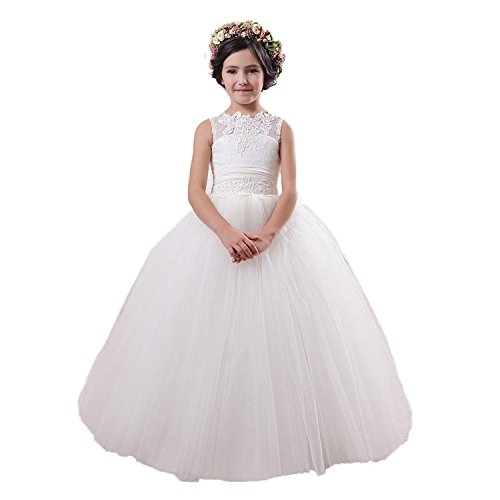 Qianruidia Tulle Pageant Princess Lace Flower Girl Wedding Dresses