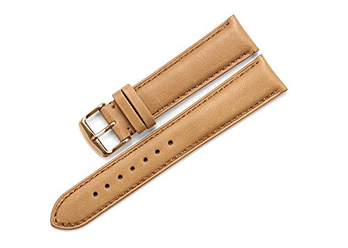 iStrap 20mm Genuine Leather Watch Strap Padded Band Rose Gold Spring Bar Buckle Super Soft - (Light Brown Nubuck Leather)