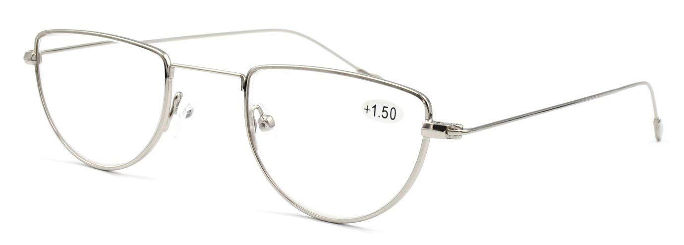 ce6678ba21 Amazon.com  AMILLET Fashion Half Moon Rimmed Reading Glasses