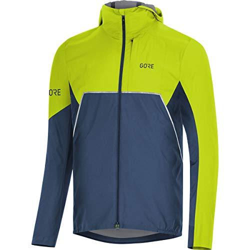 GORE WEAR R7 Men's Hooded Running Jacket Partial Gore-TEX INFINIUM, XL, Dark Blue/Green ()
