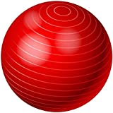 65cm Balance Stability Pilates Ball for Yoga Fitness Exercise With Air Pump Red